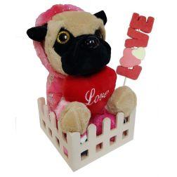 Peluche perrito bulldog amoroso