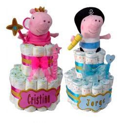 Tarta pañales Peppa Pig y George